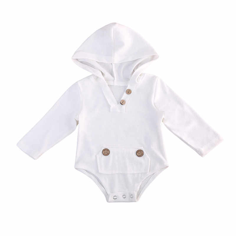 ae3e3994c0421 Emmababy Baby Boy Girl solid white Cotton Hooded wooden Button Bodysuits  personalized design Jumpsuit Bodysuit Clothes Outfits
