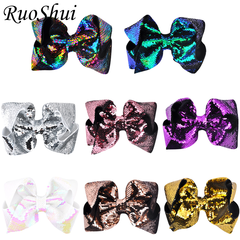 15pcs lot 8 inch Big Rainbow Large Hair Bow Sequins Mackerel Ribbon Alligator Clips Headwear Bowknot