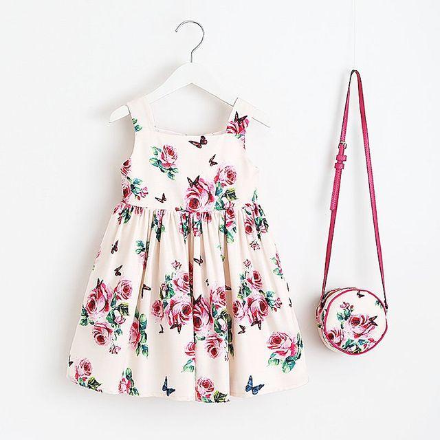 Vestido de verano de las niñas con bolsa 2018 marca niño Niñas Ropa niños vestidos flor vestido de la princesa trajes para niños ropa