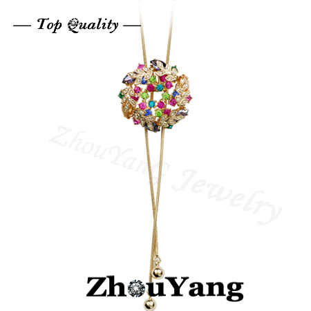 ZHOUYANG ZYM015 Multicolour Flowers Sweater Coat Chain  Rose Gold Plated Pendant Necklace  Austrian Crystal  Wholesale