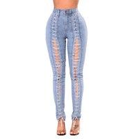 Nueva Lace Up Jeans Mujer Plus Tamaño jeans Denim Elástico Flaco pantalones Sexy Bodycon Delgado Butt Lift Cintura Ladies Jeans Pantalones XXL