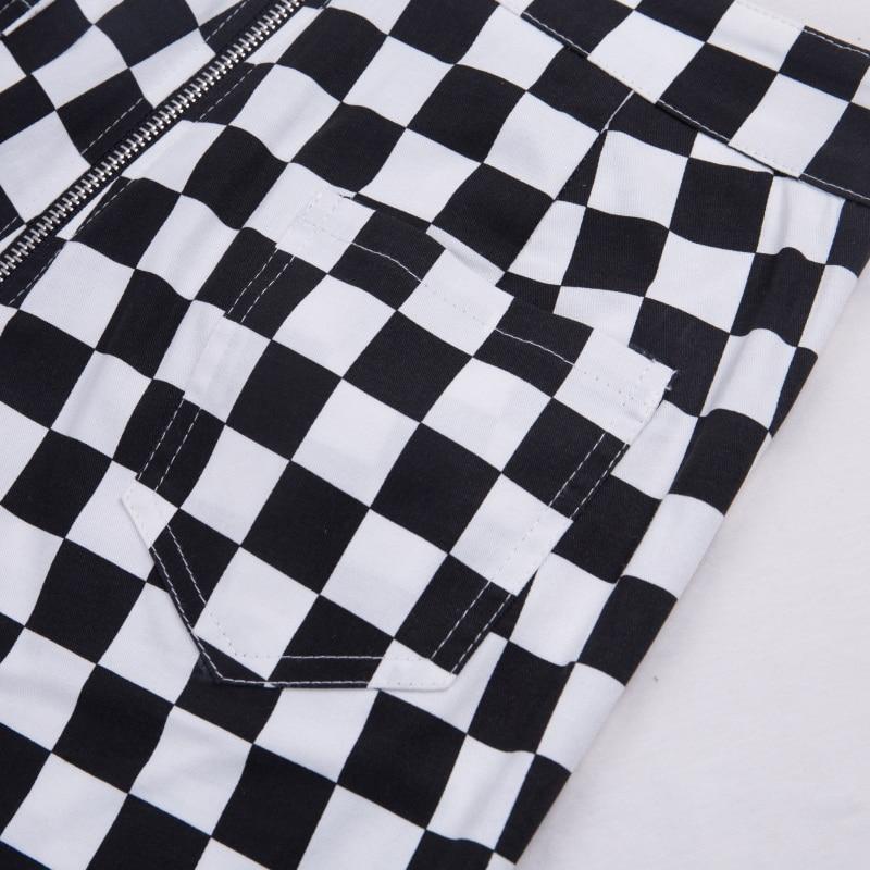 InstaHot Plaid Zipper Checkered Straight Pants Women Fashion Casual Slim Pockets Long Pants Black White Pencil Pantalon Femme 28