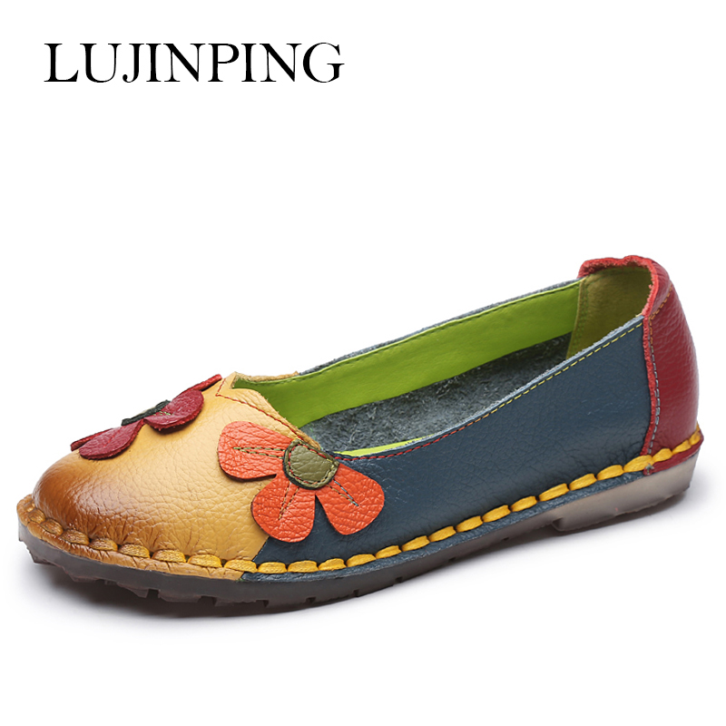 Fashion Summer Autumn Fashion Flower Design Round Toe Mix Color Flat Shoes Vintage Genuine Leather Women Flats Girl Loafer front lace up casual ankle boots autumn vintage brown new booties flat genuine leather suede shoes round toe fall female fashion