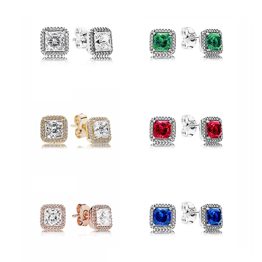 Classic Red/Green/Blue Timeless Elegance 925 Sterling Silver Earring Studs For Women Wedding Party Gift DIY Pandora Jewelry pair of creative red and blue flashing led clip studs earring