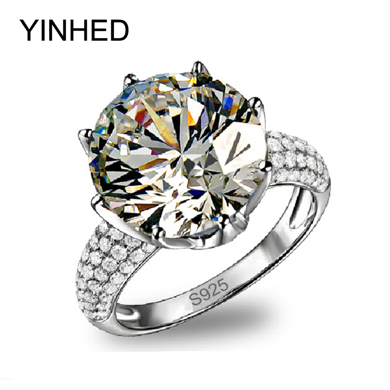 YINHED Luxury Big 5 Carat CZ Diamant Wedding Rings for Women Real 925 Sterling Silver Ring