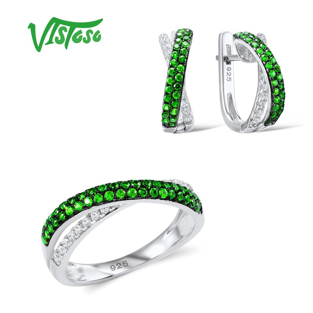 VISTOSO Jewelry Sets For Woman Green Spinels White CZ Stones Jewelry Set Earrings Ring 925 Sterling