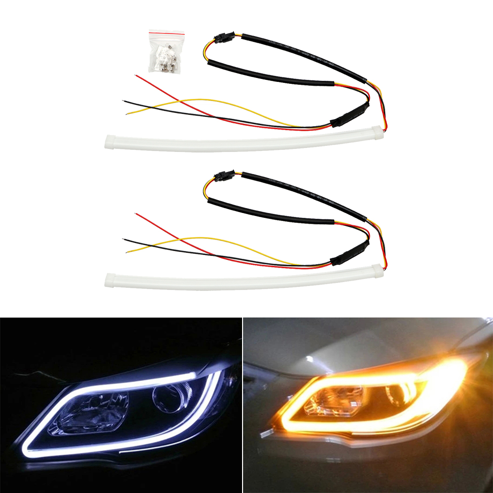 2pcs 30cm Angel Eye DRL LED Car Daytime Running Light Auto Turn Signal Lamps Indicators Waterproof Single/Dual Color Car-styling