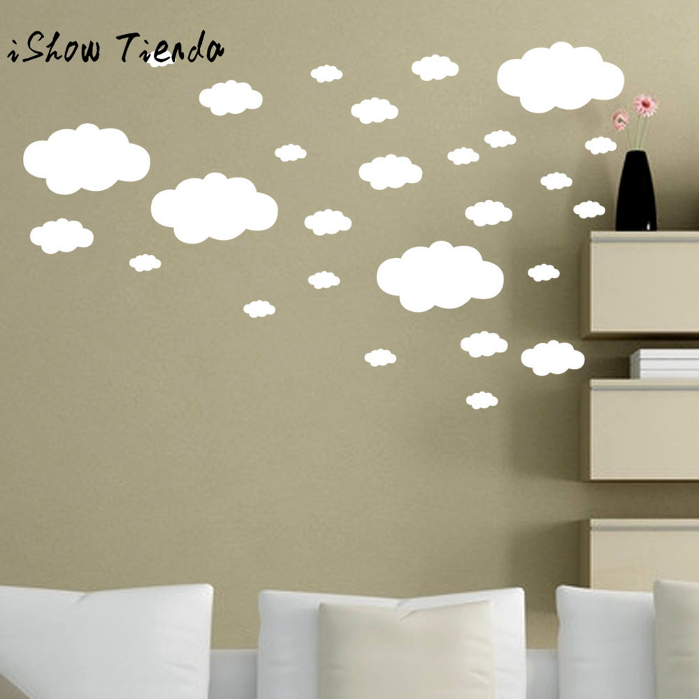 Us 1 06 29 Off 27pcs Diy Clouds Wall Decals Children S Room Home Decoration Art Little Cloud Stickers Decal 0226 In From