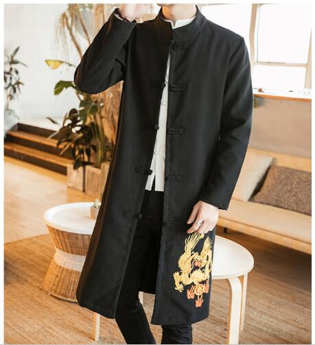 f13b916e4 Traditional Chinese Long Coat Men's Cotton/Linen Winter Jacket SZ S-3XL
