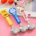 Bonito dos desenhos animados de aço ferramentas de alimentação colher crianças talheres bebê talheres colher Multicolor 1 peça