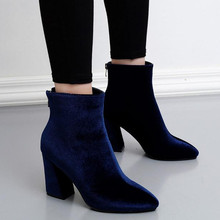 2017 autumn winter Women naked boots velvet fashion high-heeled boots Blue, black Martin boots boty sapatos  topuklu bot
