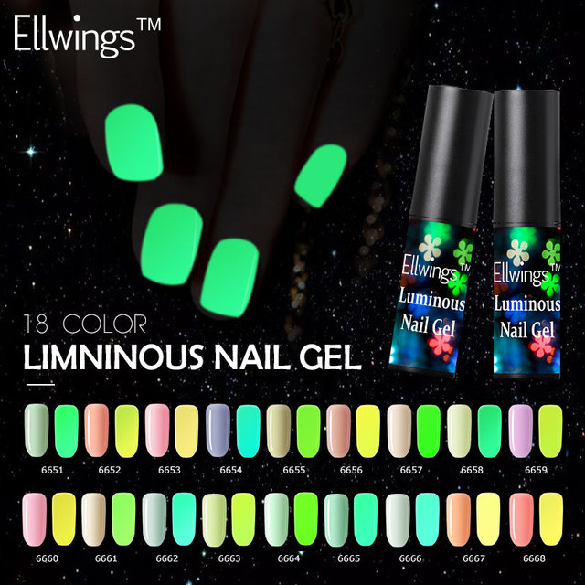 Ellwings Nail Gel Fluorescent Luminous Gel Nail Varnish UV Glow In ...