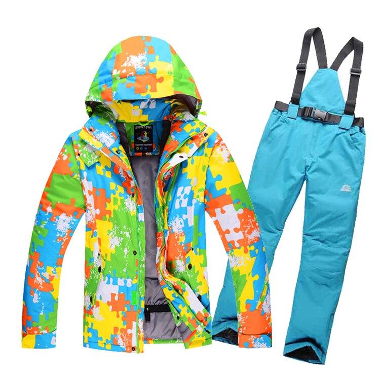 Prix pour LIVRAISON GRATUITE hommes de ski veste + pantalon de ski de neige costume ensemble de vêtements d'hiver pour Hommes coupe-vent imperméable thermique Snowboard manteau
