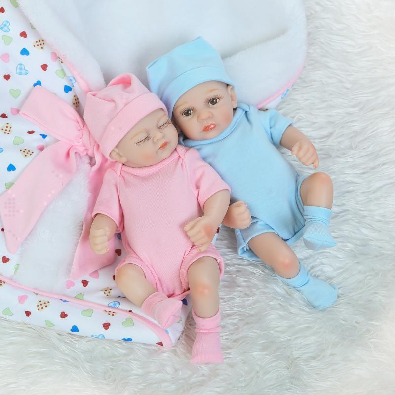 NPKcollection27cm Hand-painted hair full silicone doll lifelike newborn twin baby with sleeping bag silicone reborn baby dolls
