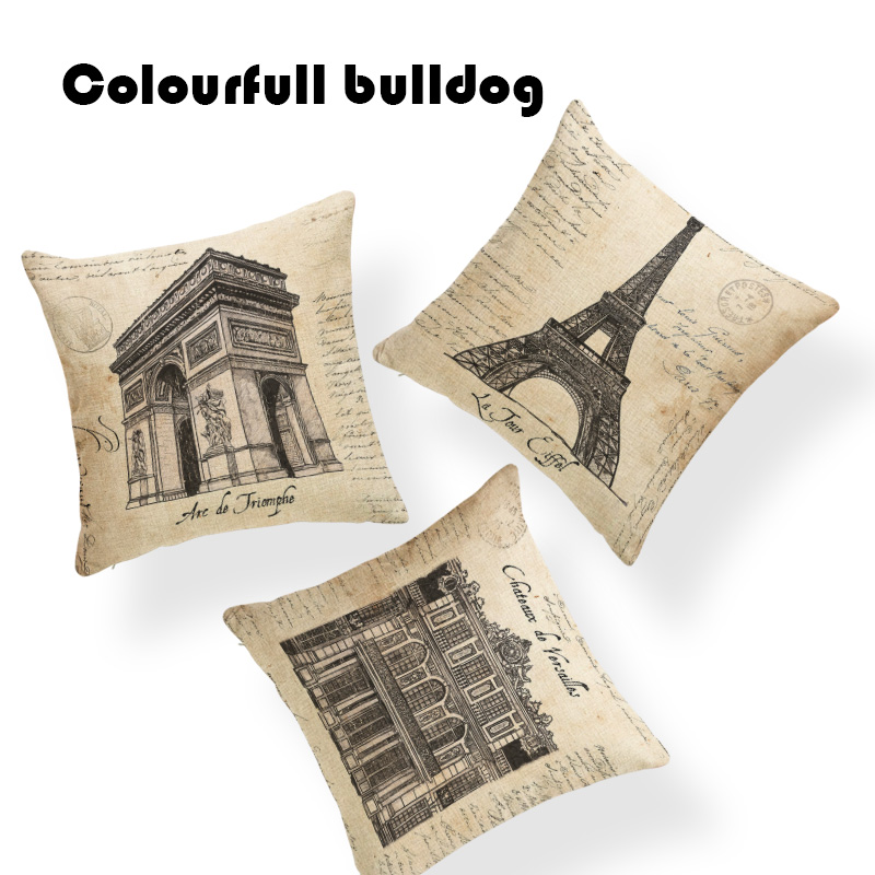 Warm Paris Eiffel Tower Cushion Covers Retro letters Car Seat Bedroom Square Linen Home Accessories Crowe Halloween Pillows