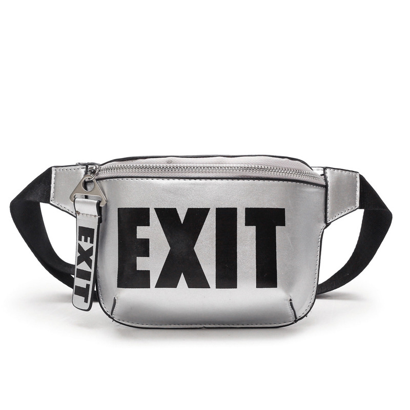 LEFTSIDE 2018 Fashion PU Leather Waist Bag Women Fanny Packs Letter EXIT Waist Packs Belt Bag Female Chest Handbag Drop ship цена