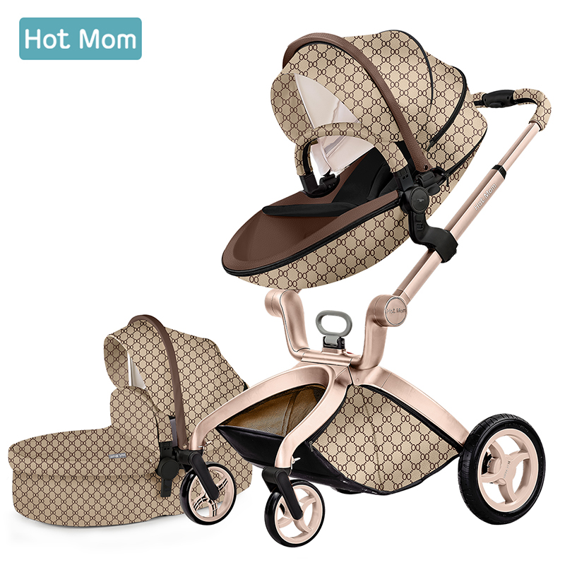 Original Hot Mom 3 in 1 Luxury Baby Stroller 360 degree two-way Baby Pram 2 in1 adjustable Seat heigh Newborn carriage free ship
