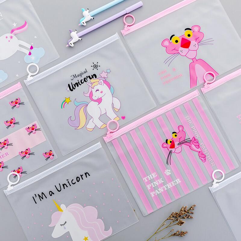 1PC Cartoon Unicorn Pink Leopard Transparent PVC Document Bag File Folder Stationery Organizer