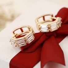 Hesiod Хрустальный цветок CZ серьги-кольца для детей девочек Детские антиаллергенные модные ювелирные изделия