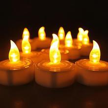 12 шт. мини теплый белый бархат led decorativas led Янтарное свечение vela de led маленький канделе каарсен с батареей