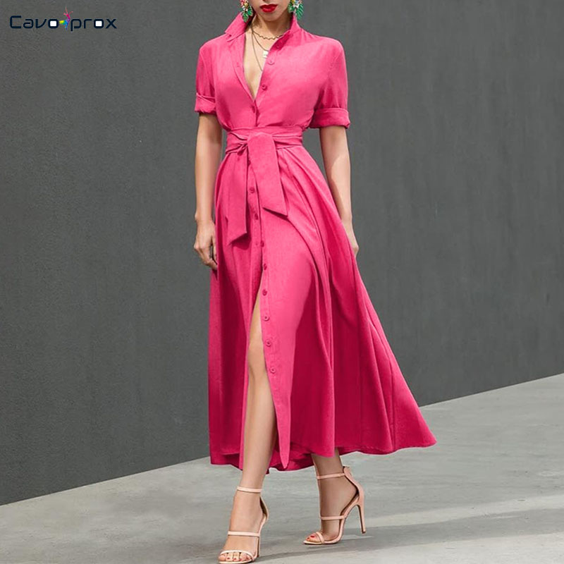 Women Single Breasted Button Design Wrap Belt Dress Casual Loose Solid Ankle Length Turn down Collar Spring Fall Dress