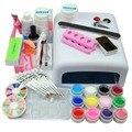 Pro Kit Nail Art 36 W Lâmpada UV Para Unhas Top Coat Cartilha 12 Cores Unhas de Gel Polonês Conjunto Verniz Para Unhas Manicure Set & Kit