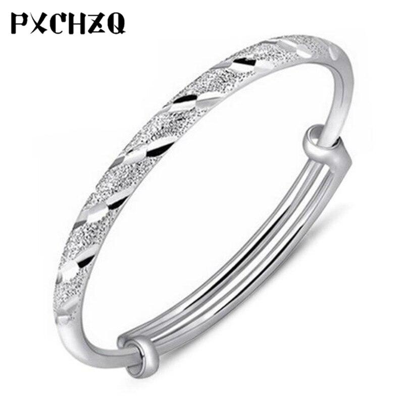 Узкий Поверхность Трубки push-pull метеорный поток серебристый цвет браслеты новый скраб браслет Женская мода Wild Подарочный 55 мм