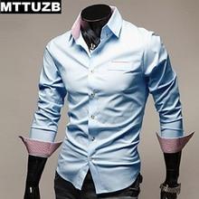 MTTUZB Men casual slim business dress shirt men's leisure long sleevs turn-down collar shirts male formal shirt clothing