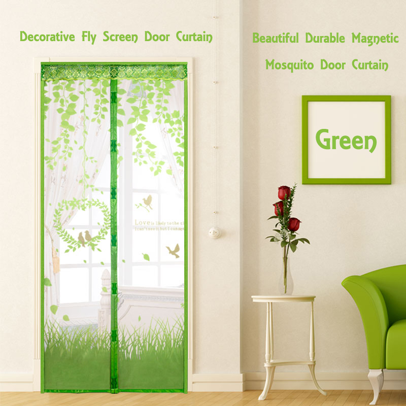 Hands free magnetic mosquito net door screen soft yarn door curtain anti insect fly magic mesh