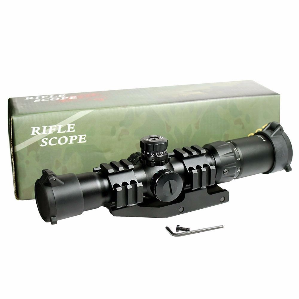 Outdoor Tactical Rifle Scope UniqueFire 1.5-4x30 30mm 3 Levels Green/Blue/Red Suitable For Rapid-firing Or Moving Targets moving targets take this ride
