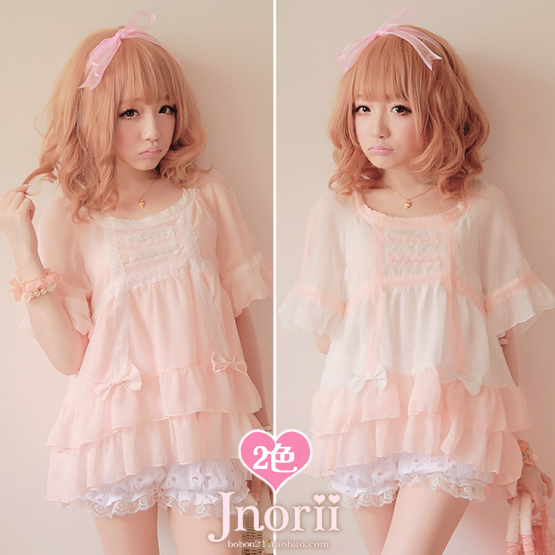 Sweet lolita princess royal pink gentlewoman Low high bobon21 waffle meat small dovetail t0827 chiffon shirt