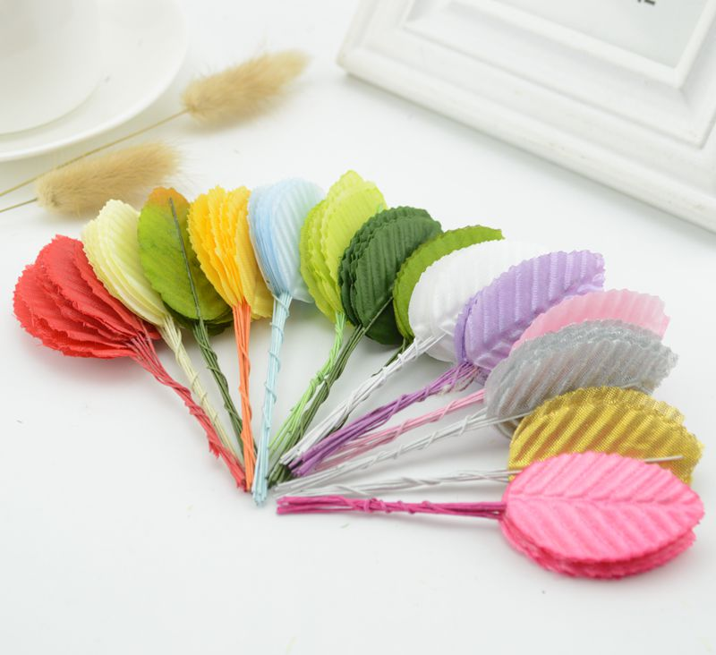 30pcs Mini Nylon Silk Leaf-shaped Leaves Artificial Flower For Wedding Decoration DIY Wreath Gift Scrapbooking Craft Fake Flower
