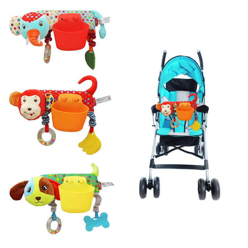 Baby Animal Bed Curtain Hanging Pocket Baby Stroller Removable Storage Pocket+Rattle Teether Multifunction Stroller Accessories