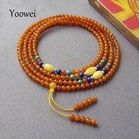 Yoowei 216 العنبر الأساور للنساء 3 ملليمتر صغيرة حبة الصلاة بوذا بسوء التأمل حبة مستديرة الكونياك اللون الطبيعي العنبر مجوهرات