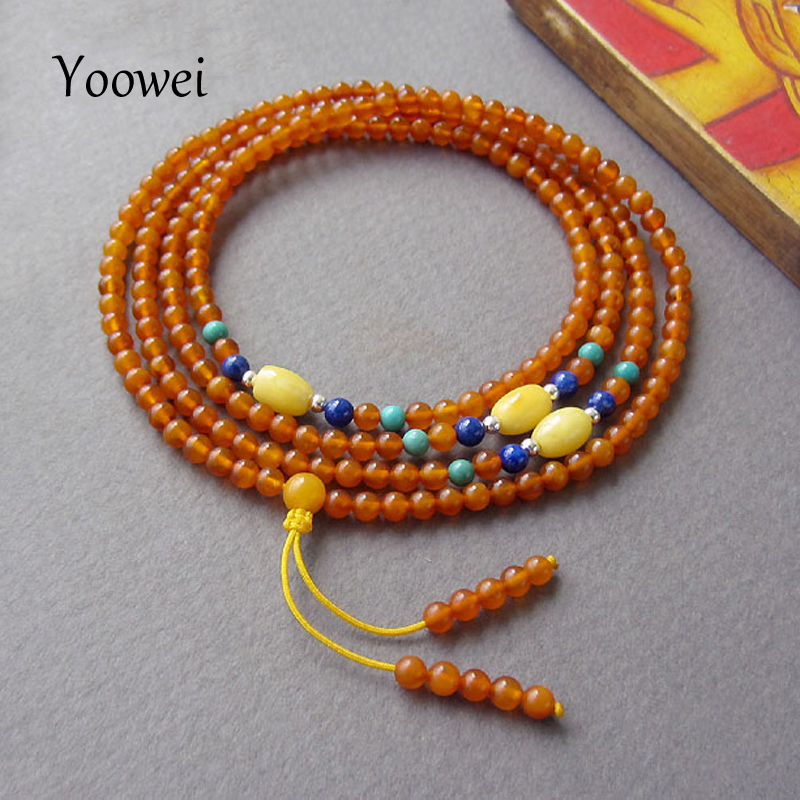 Yoowei 216 Amber Bracelets for Women 3mm Tiny Bead Prayer Buddha Mala Meditation Bead Round Cognac Color Natural Amber Jewelry