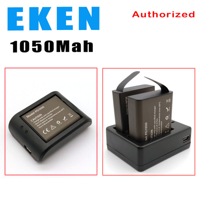 Eken Battery Pg1050 Batteries Dual Usb Charger For Sjcam Sj4000 Sj8000 Sj9000 H9 H9r H8 H8r