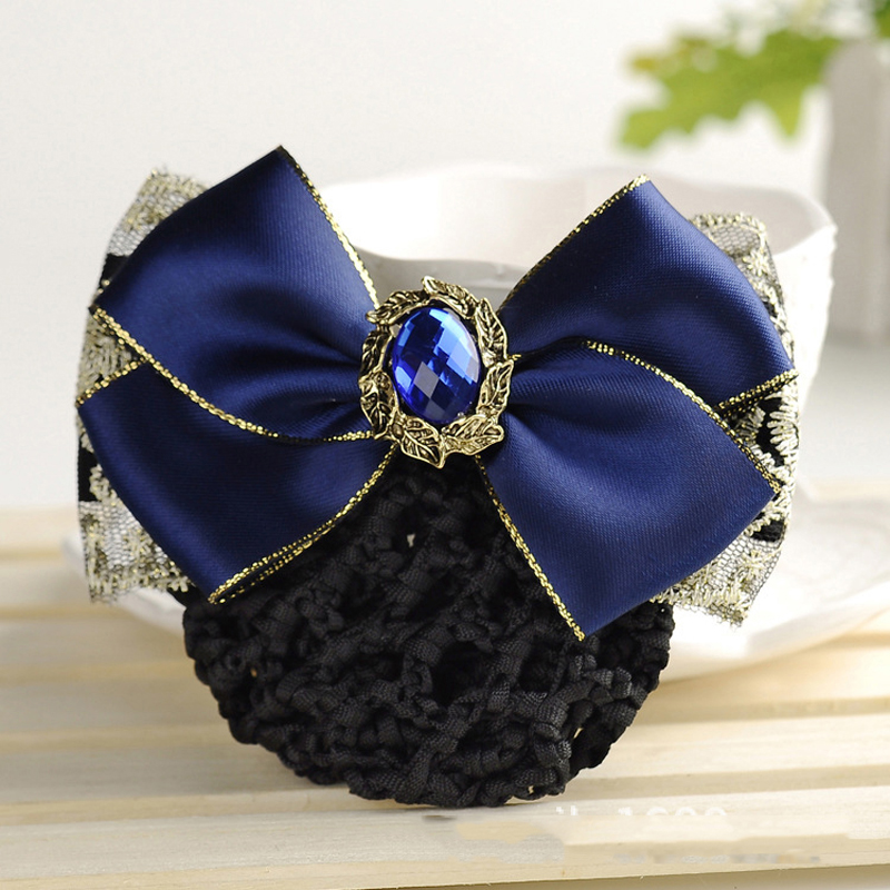 4 Colors Women Satin Lace Bow Hair Bun Rhinestone Net Snood Crochet Net Bun Hair Cover Women Hair Accessories Elegant Barrette