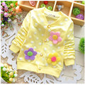 Весна 2016 новорожденный новорожденных девочек одежда хлопок Цветы флис толстовки верхней одежды для девочки спортивные пальто толстовки