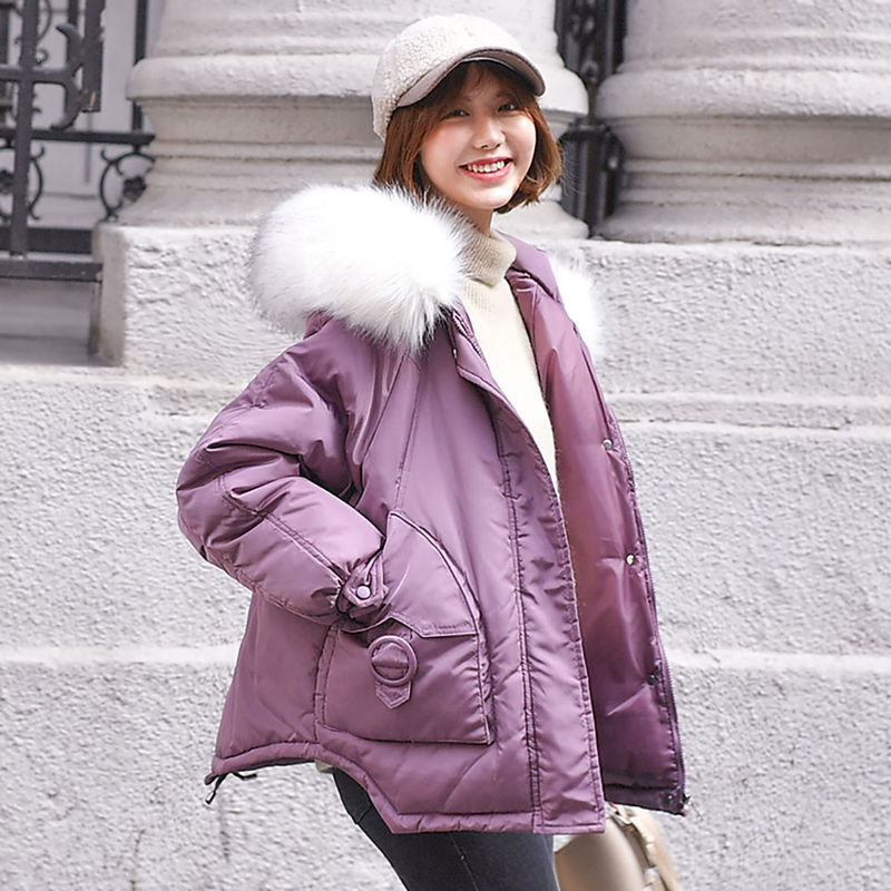 2019 Short Winter Jacket Women Thicken Warm Outerwear   Parkas   Female Winter Loose Cotton Padded Hooded Jacket Coat