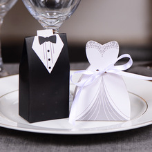 100Pcs Candy Box Bridal Gift Cases Groom Tuxedo Dress Gown Ribbon Wedding Favors Sugar Case Wedding Decoration mariage casamento