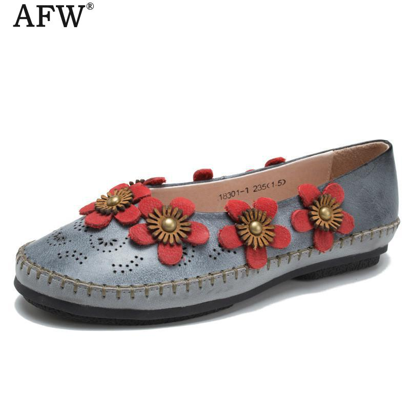AFW 2018 Spring Shoes Women Flower Flats Genuine Leather Women Loafers Retro Shoes Handmade Casual Leather Moccasin Women cyabmoz 2017 flats new arrival brand casual shoes men genuine leather loafers shoes comfortable handmade moccasins shoes oxfords