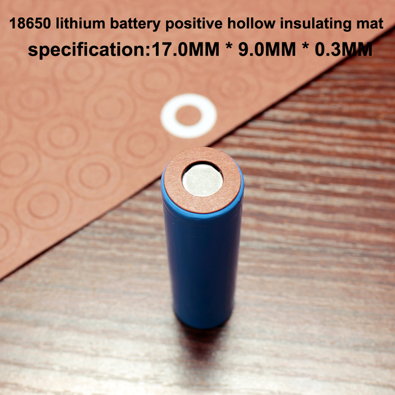 100pcs/lot Lithium Battery 18650 Positive Hollow Insulating Pad Red Flat Tip Insulated Surface Mat Meson 17*9.0*0.3MM