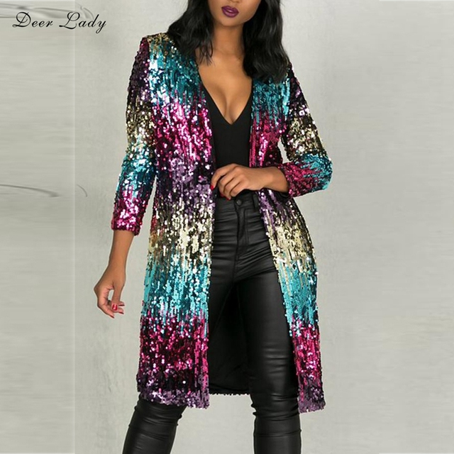 Deer Lady Summer Jacket Women 2018 Long Sexy Bodycon Sequin Jacket Club  Fahsion Colourful Rainbow Long Sleeve Jacket f5610d26170a