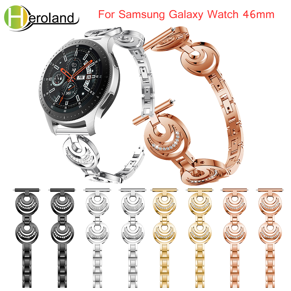 For Samsung Galaxy Watch 46mm Watch band Stainless Steel Replacement smart wirst with Rhinestone for Samsung Gear S3 straps new in Watchbands from Watches