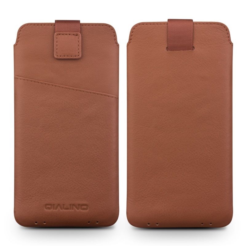 For iPhone 7 Plus 5 5 inch Pouches Bags QIALINO Genuine Leather Card Slot Pouch for