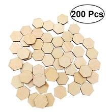 200 шт 15 мм бук деревянный шестигранный орнамент из кусочков деревянных форм украшения DIY ремесла украшения для свадьбы Рождества