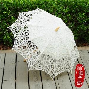 Image 1 - Moda parasol słoneczny bawełniana haftowana panna młoda parasol biały kość słoniowa Battenburg koronki parasol parasol ślubny dekoracje