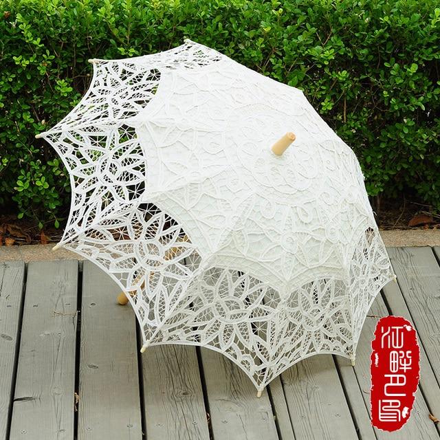 Moda parasol słoneczny bawełniana haftowana panna młoda parasol biały kość słoniowa Battenburg koronki parasol parasol ślubny dekoracje