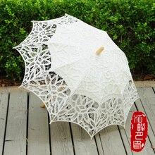 Ombrello da sposa in cotone con ricamo in cotone, ombrello da sposa in pizzo bianco avorio