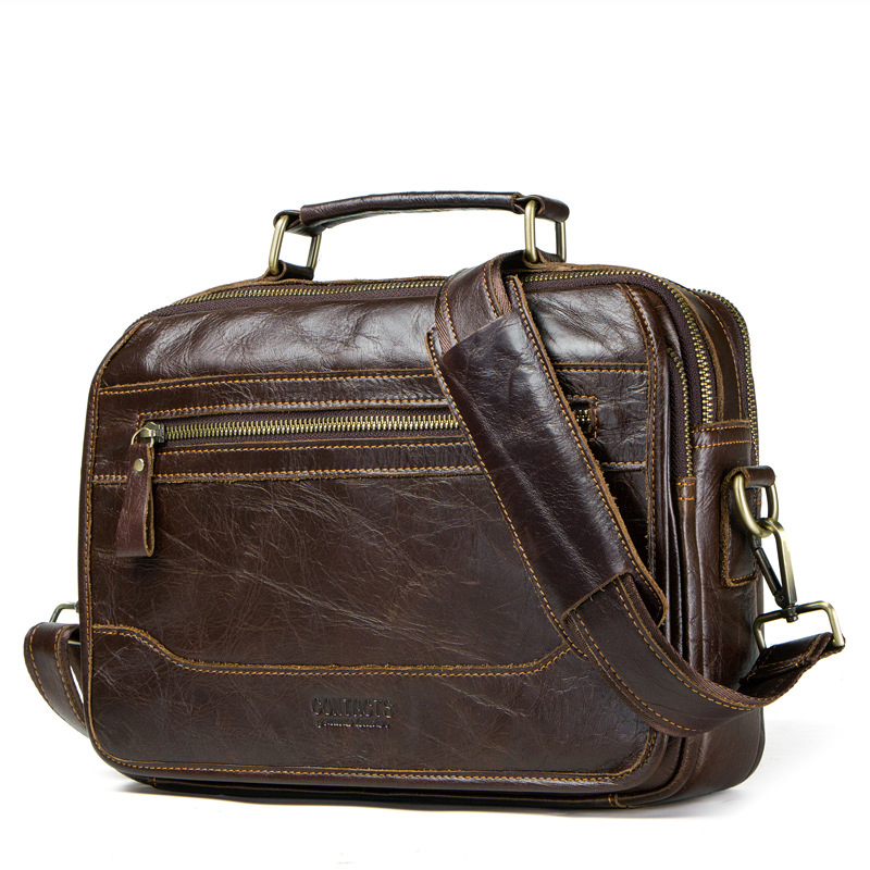 Men's Shoulder Bag, First Layer Leather Crossbody Bag, Genuine Leather Briefcase With Back Strap